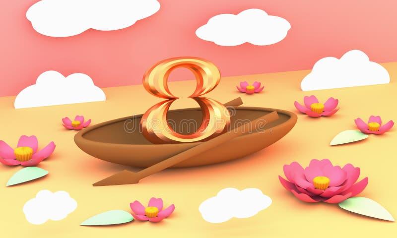 Liczba osiem jest wodniactwo jeziorem z lotosami i biel chmurnieje 3D ilustrację ilustracja wektor