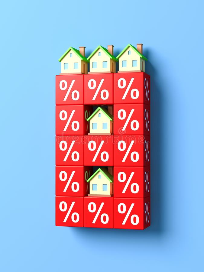 Liczba Osiem Z miniatura domami I Czerwonymi odsetków blokami ilustracji