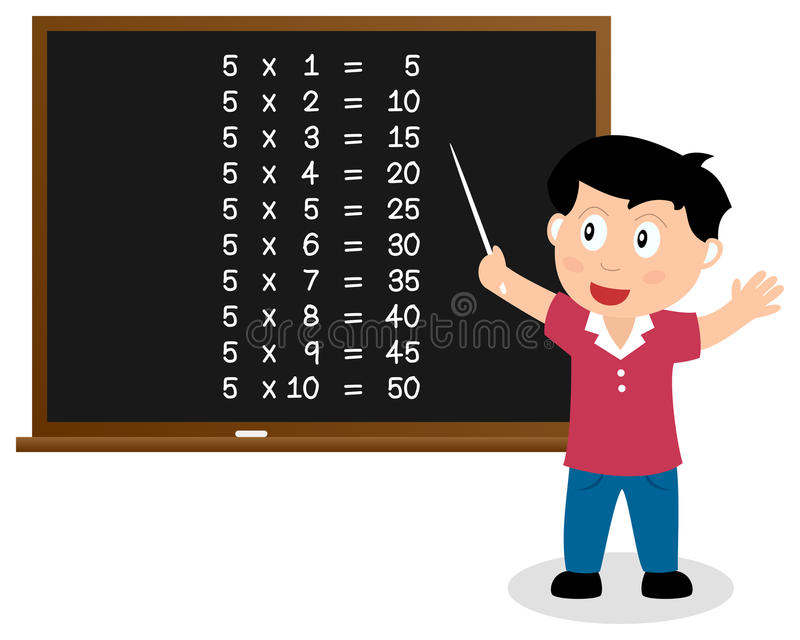 Liczba Pięć czasów stół na Blackboard ilustracji