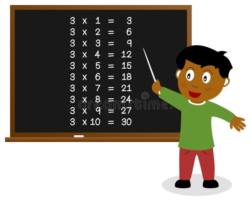 Liczba Trzy czasów stół na Blackboard royalty ilustracja