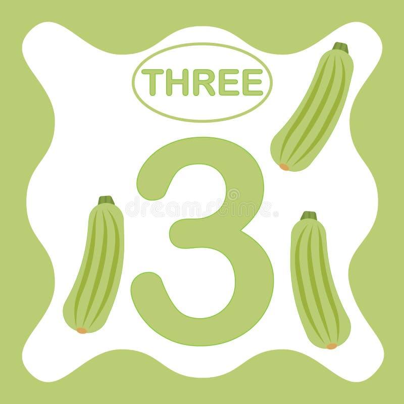 Liczba 3 trzy, edukacyjna karta, uczy się liczyć ilustracji