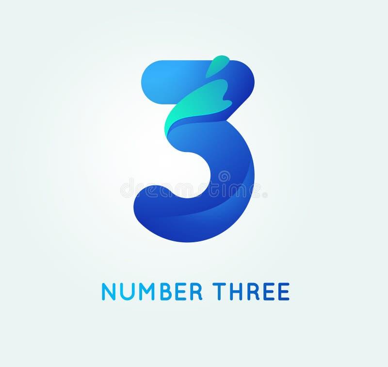 Liczba trzy w trendu kształta stylu ilustracji