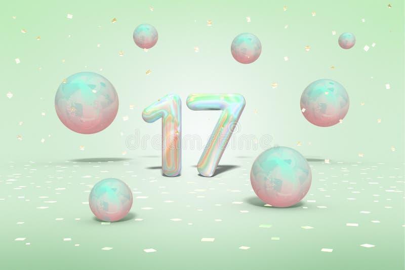 Liczba 17 w holograficznym projekcie, lata błyszczące piłki neonowy błękit, menchia kolory i złocistych confetti na jasnozielonym royalty ilustracja