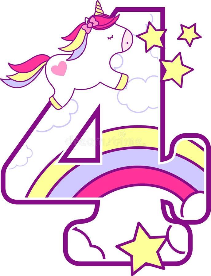 Liczba 4 z śliczną jednorożec royalty ilustracja