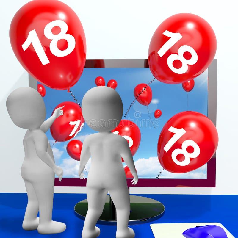Liczby 18 balony od monitoru Pokazują Online royalty ilustracja
