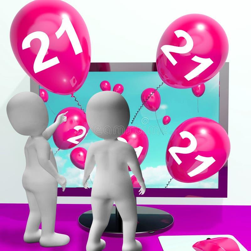 Liczby 21 balony od monitoru Pokazują Online zaproszenie lub Celebra ilustracja wektor
