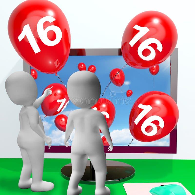 Liczby 16 balony od monitoru Pokazują Online zaproszenie lub Celebra royalty ilustracja