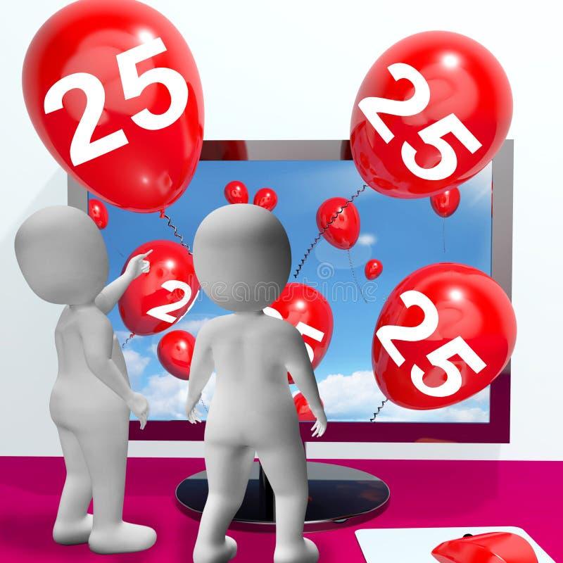 Liczby 25 balony od monitoru Pokazują Online zaproszenie lub Celebra ilustracji