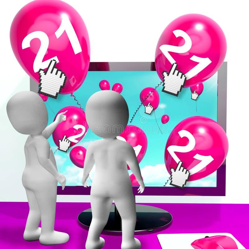 Liczby 21 balony od monitoru przedstawienia Internetowego zaproszenia lub Cel ilustracja wektor