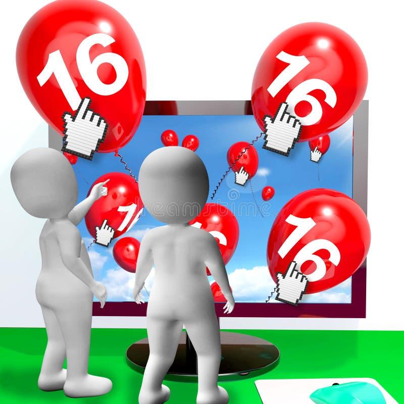 Liczby 16 balony od monitoru przedstawienia Internetowego zaproszenia lub Cel ilustracja wektor