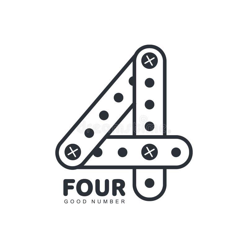 Liczby cztery loga szablon robić prosto i wyginający się paski royalty ilustracja