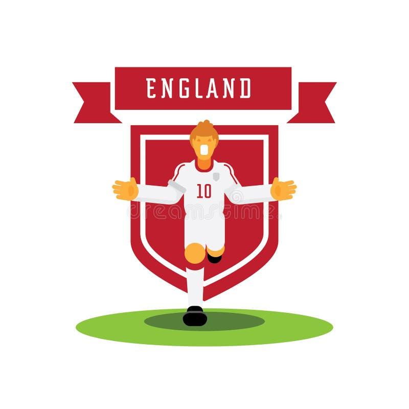 Liczby dziesięć Anglia gracz drużynowy świętuje z drużynową odznaką ilustracji