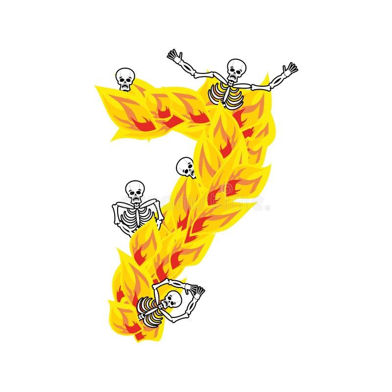 Liczby 7 grzesznic i płomieni okropna chrzcielnica Ognisty literowanie siedem ilustracji