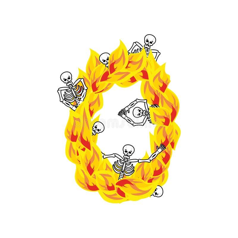 Liczby (0) grzesznic i płomieni okropna chrzcielnica Ognisty literowanie zero ilustracji