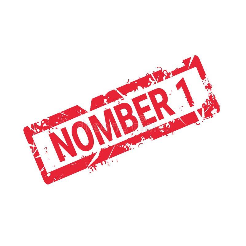 Liczby 1 ilości foki Grunge Stemplowego atramentu majcheru Czerwona Odosobniona ikona ilustracja wektor