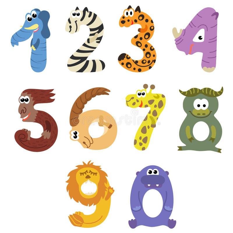 Liczby jak afrykańscy zwierzęta ilustracji