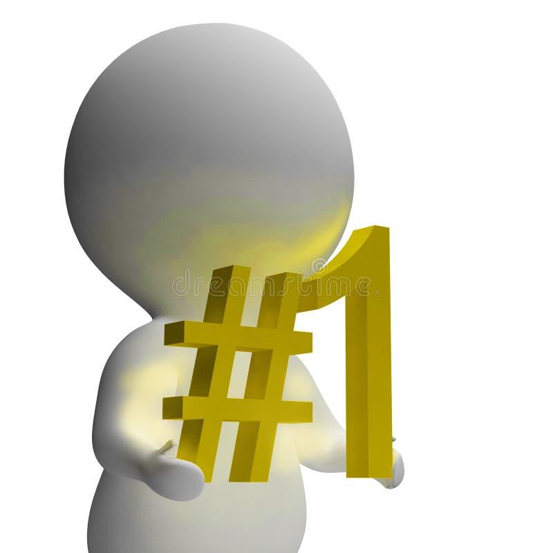 Liczby Jeden 3d charakter Pokazuje Pierwszy miejsce royalty ilustracja