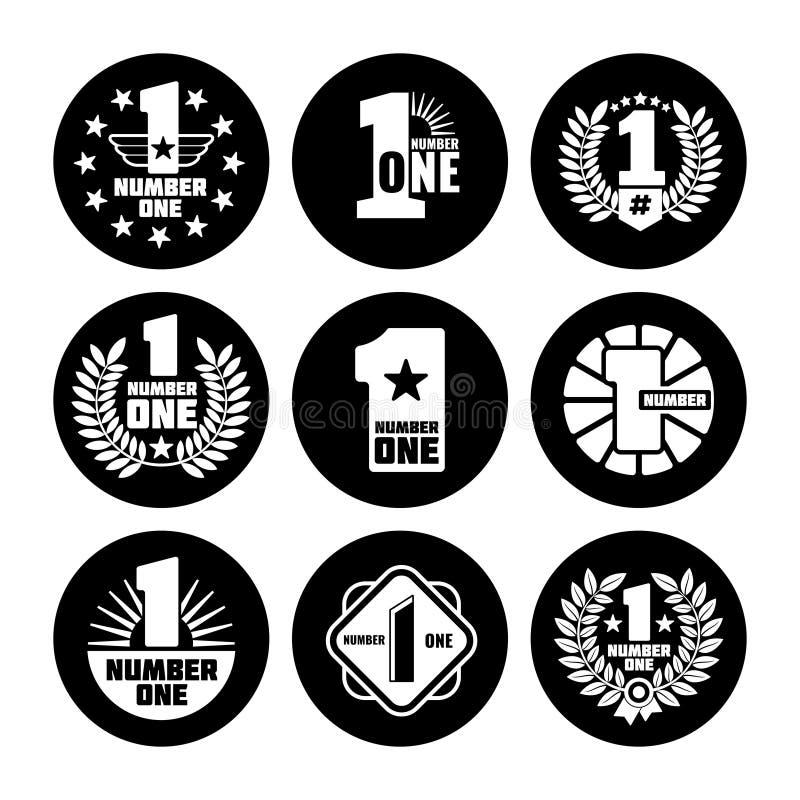 Liczby jeden wektoru etykietki na czarnych ikonach ilustracji