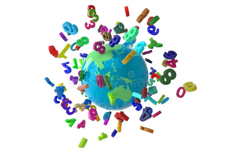 Liczby kuli ziemskiej colorfull fotografia royalty free
