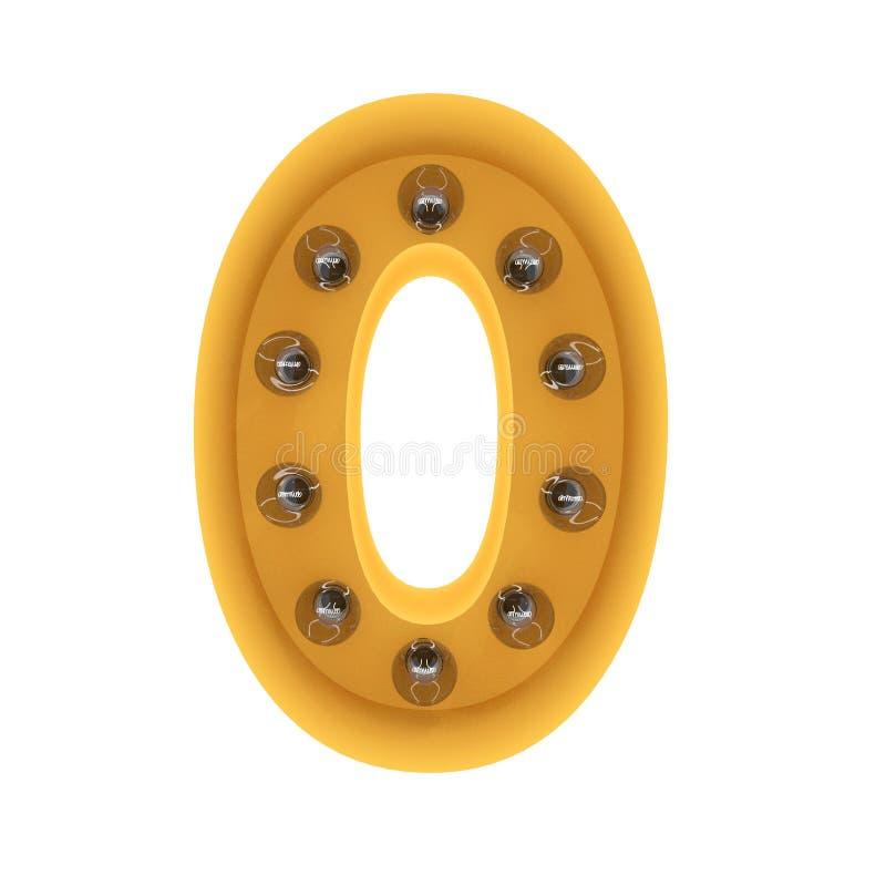 Liczby (0) lekki szyldowy żółty rocznik świadczenia 3 d fotografia stock