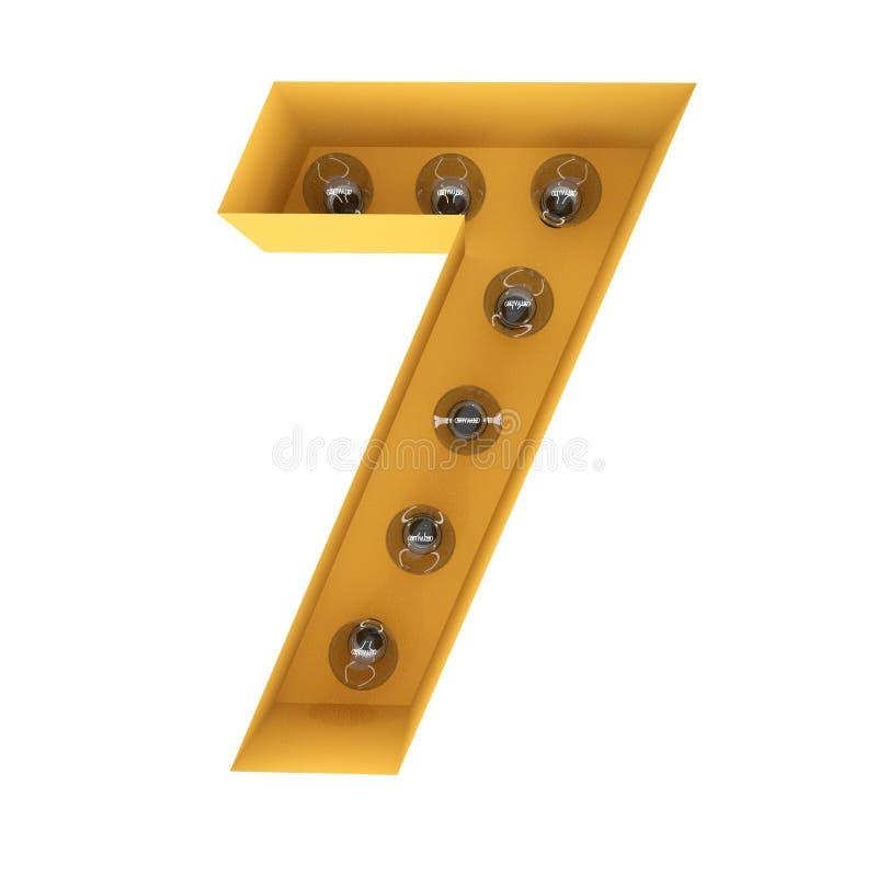 Liczby 7 lekki szyldowy żółty rocznik świadczenia 3 d obraz stock