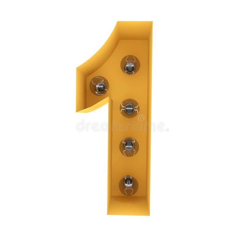 Liczby 1 lekki szyldowy żółty rocznik świadczenia 3 d obraz stock