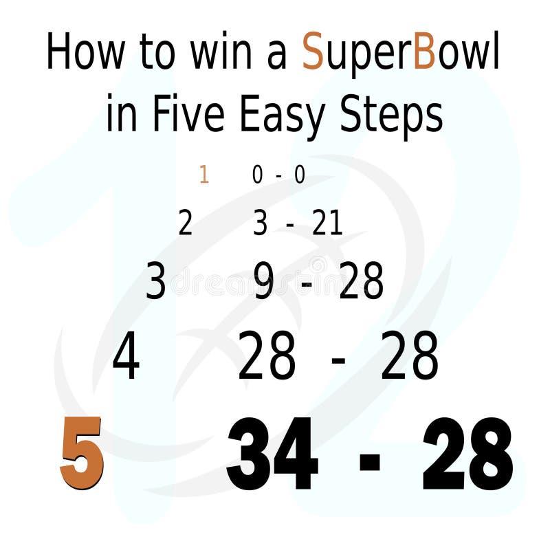 Liczby mówją opowieść superbowl 51 royalty ilustracja
