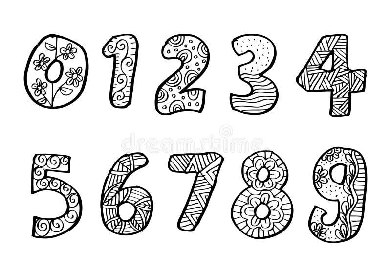 Liczby (0), 9 od dekorujący royalty ilustracja