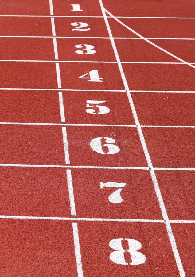 liczby od jeden osiem atletyka śladu pas ruchu fotografia stock