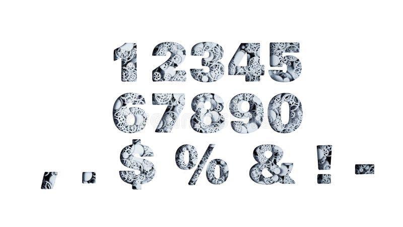 Liczby od przekładni świadczenia 3 d ilustracji