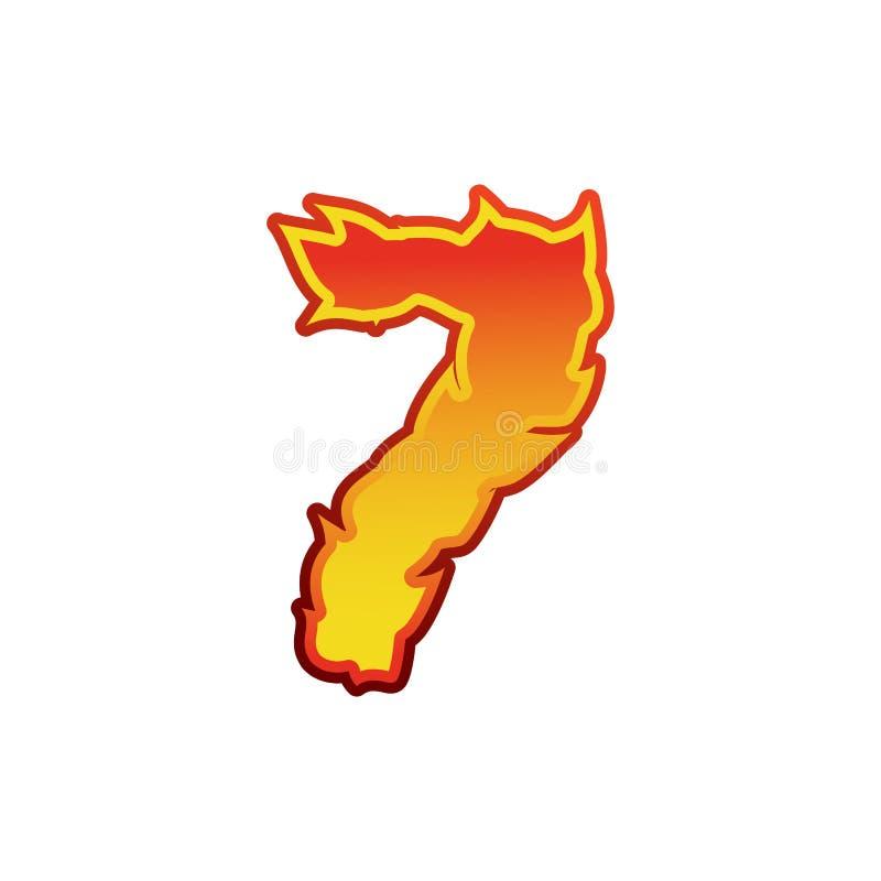 Liczby 7 ogień Płomień chrzcielnica siedem Tatuażu abecadła charakter lenno ilustracja wektor