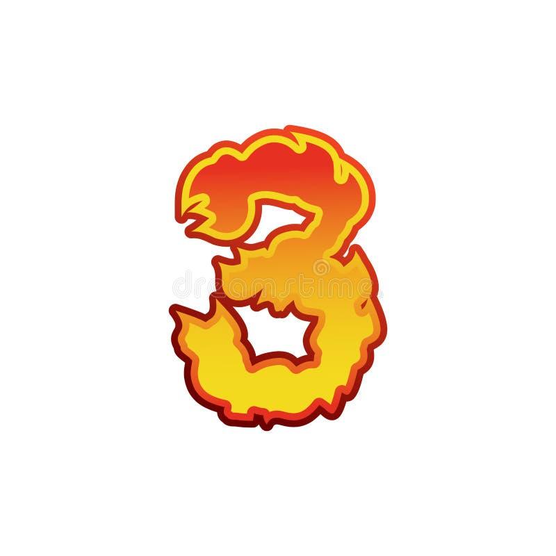 Liczby 3 ogień Płomień chrzcielnica trzy Tatuażu abecadła charakter lenno ilustracja wektor