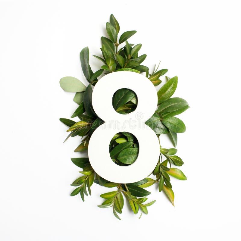 Liczby osiem kształt z zielonymi liśćmi pojęcia odosobniony natury biel Mieszkanie nieatutowy Odgórny widok zdjęcie stock