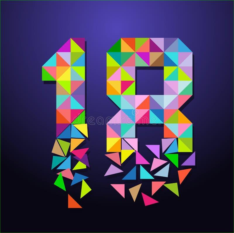 Liczby osiemnaście symbol ilustracji
