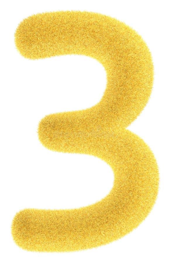 liczby owłosiony kolor żółty trzy ilustracji