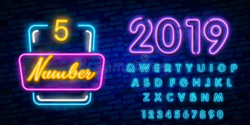 Liczby Pięć symbolu neonowego znaka wektor Liczby Pięć szablonu neonowa ikona, lekki sztandar, neonowy signboard, śródnocna jaskr ilustracja wektor