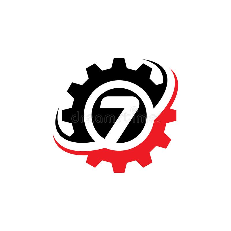 Liczby 7 przekładni logo projekta szablon ilustracji