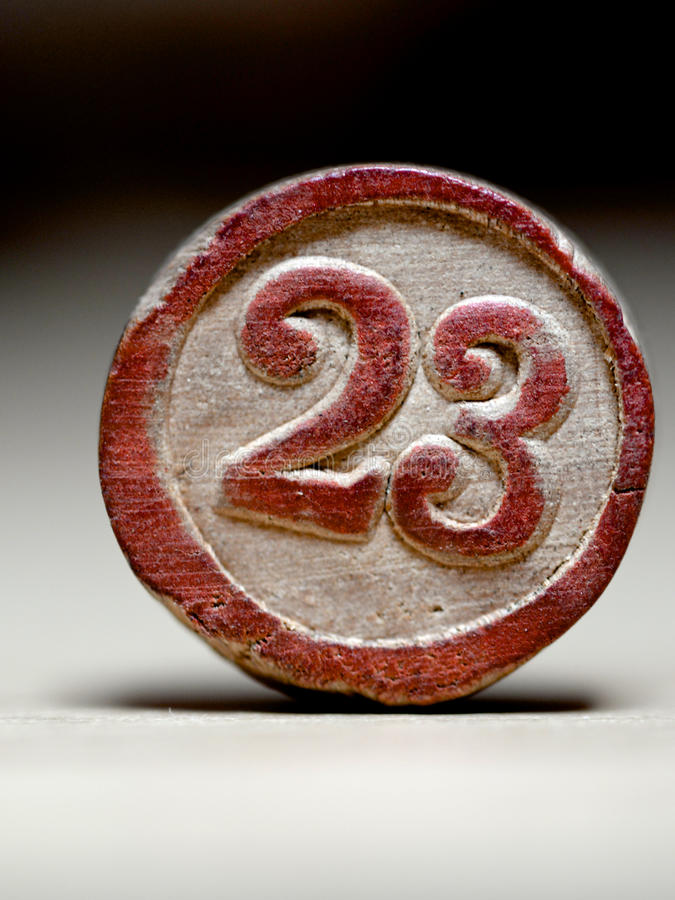 Liczby 23 rocznika loteryjki kawałek obrazy stock