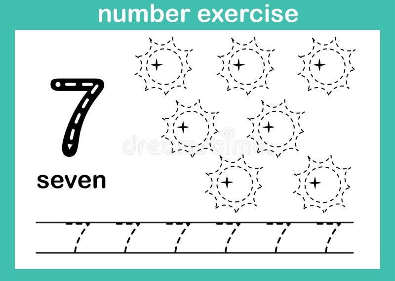 Liczby siedem ćwiczenie royalty ilustracja