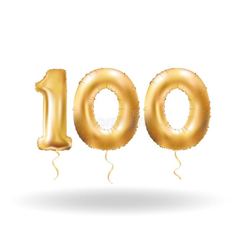 Liczby sto kruszcowy balon ilustracji