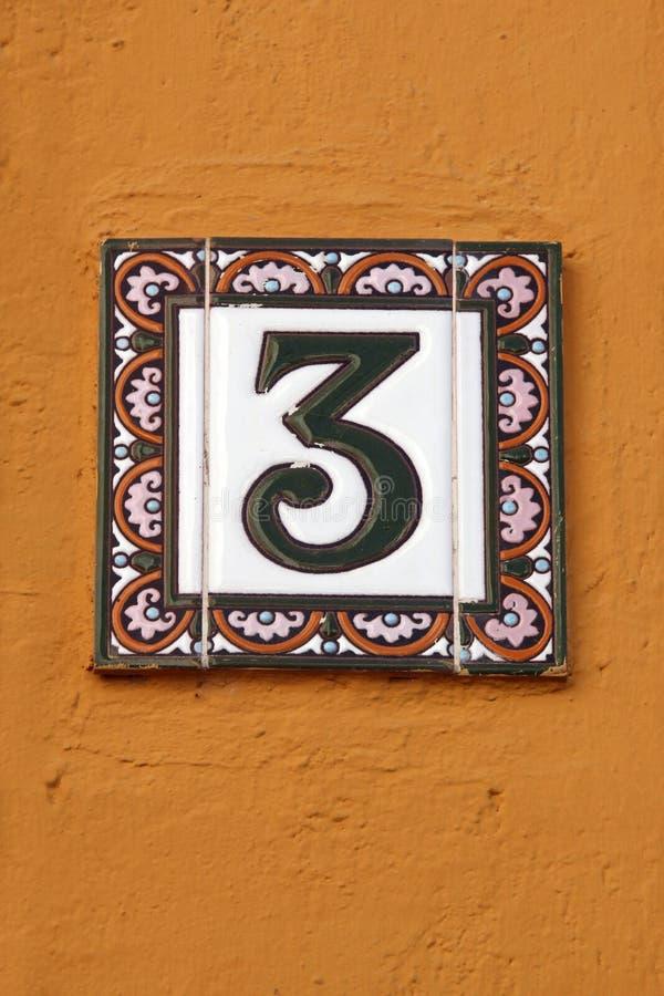 Liczby trzy domowego adresu półkowa liczba obraz stock
