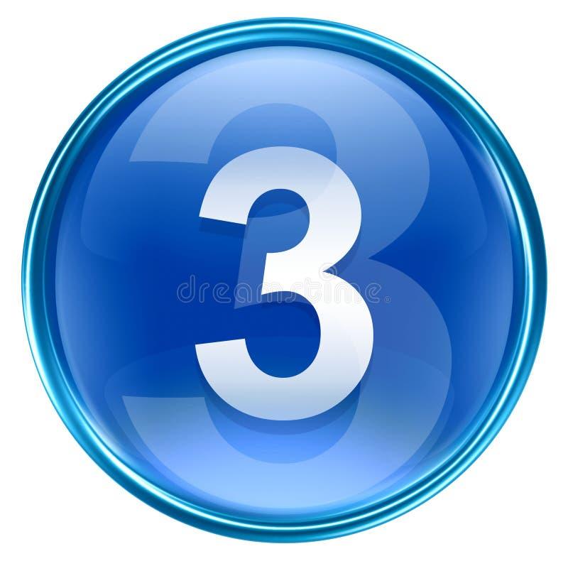Liczby trzy ikony błękit ilustracji