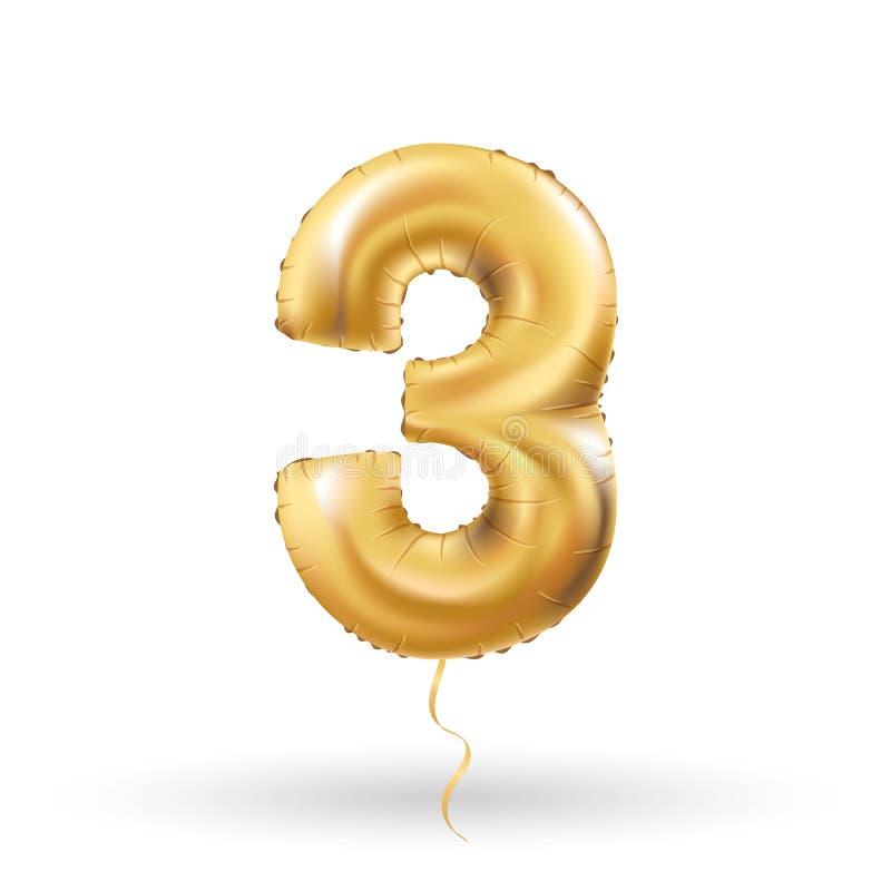 Liczby trzy kruszcowy balon ilustracja wektor