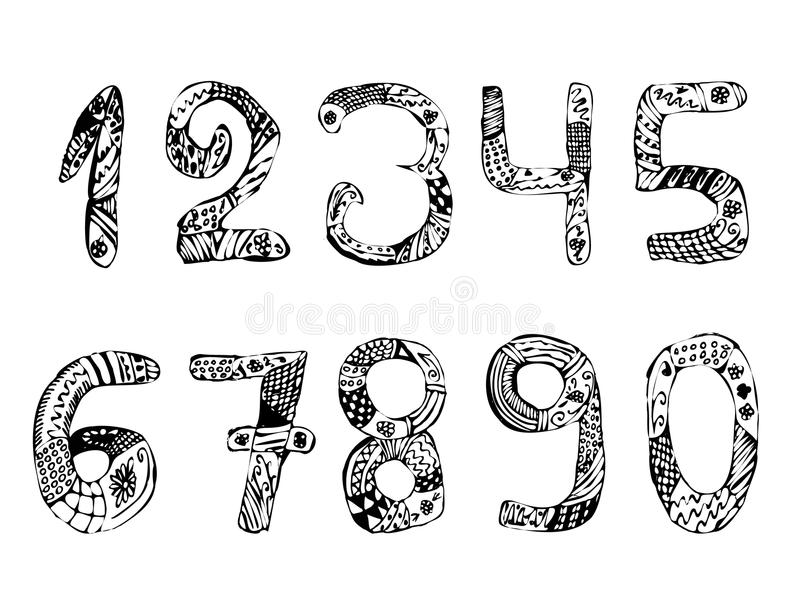 liczby ustawiać Rocznik doodle Zentangle remisu ręki papieru watercolours Wektorowa ilustracja na odosobnionym tle ilustracja wektor