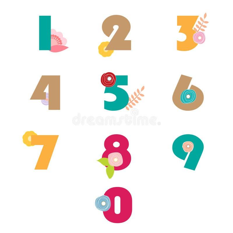 Liczby ustawiają numerycznego kwiecistego białego tło ilustracji