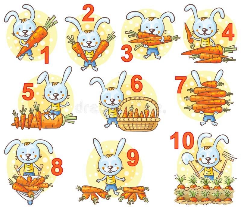 Liczby w obrazkach ustawiają, królik i jego marchewki royalty ilustracja