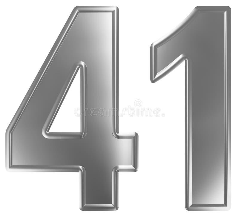 Liczebnik 41, czterdzieści jeden, odizolowywający na białym tle, 3d odpłaca się ilustracja wektor
