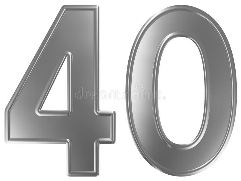 Liczebnik 40, czterdzieści, odizolowywający na białym tle, 3d odpłaca się royalty ilustracja