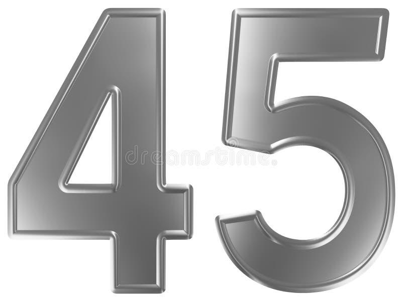 Liczebnik 45, czterdzieści pięć, odizolowywający na białym tle, 3d odpłaca się ilustracji