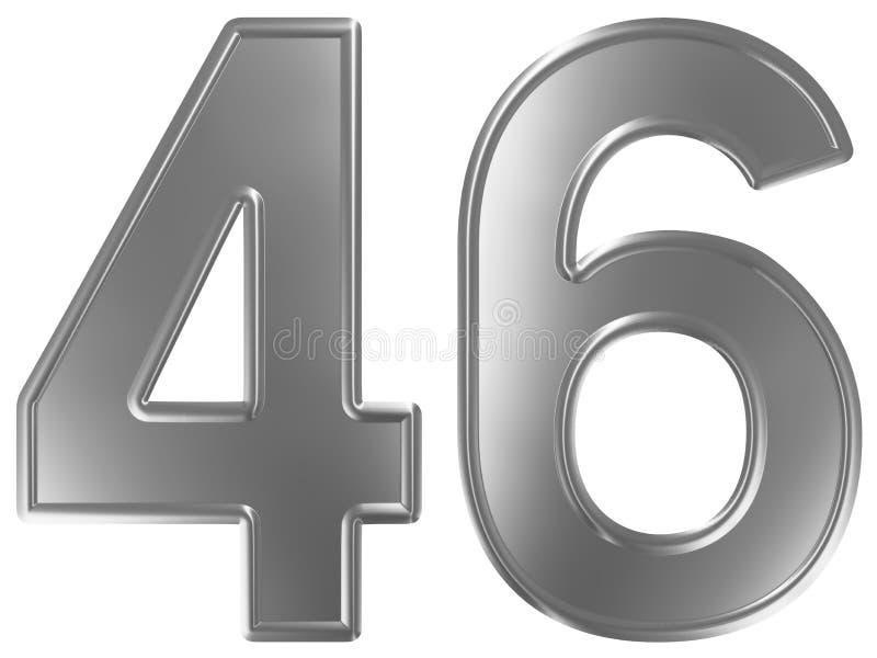 Liczebnik 46, czterdzieści sześć, odizolowywający na białym tle, 3d odpłaca się royalty ilustracja